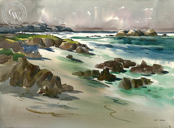 Pebble Beach Morning, California art by Art Riley. HD giclee art prints for sale at CaliforniaWatercolor.com - original California paintings, & premium giclee prints for sale