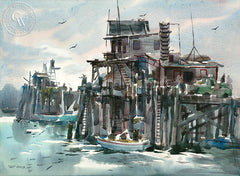 Pier Side, California art by Art Riley. HD giclee art prints for sale at CaliforniaWatercolor.com - original California paintings, & premium giclee prints for sale
