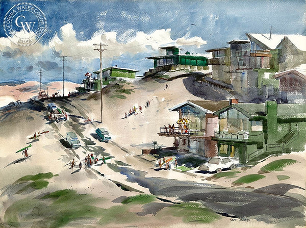 Playa del Rey, L.A., 1957, California art by Art Riley. HD giclee art prints for sale at CaliforniaWatercolor.com - original California paintings, & premium giclee prints for sale