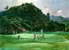 Playing Pebble Beach, c. 1960's, California art by Art Riley. HD giclee art prints for sale at CaliforniaWatercolor.com - original California paintings, & premium giclee prints for sale