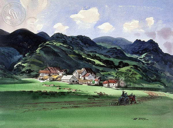 San Luis Farm, c. 1940s, California art by Art Riley. HD giclee art prints for sale at CaliforniaWatercolor.com - original California paintings, & premium giclee prints for sale
