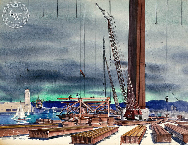 San Pedro Harbor, 1962, California art by Art Riley. HD giclee art prints for sale at CaliforniaWatercolor.com - original California paintings, & premium giclee prints for sale
