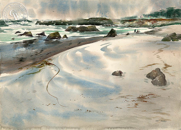 Sandy Stroll, Pebble Beach, a California watercolor painting by Art Riley. HD giclee art prints for sale at CaliforniaWatercolor.com - original California paintings, & premium giclee prints for sale