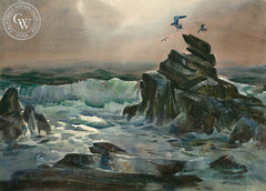 Seagulls, California art by Art Riley. HD giclee art prints for sale at CaliforniaWatercolor.com - original California paintings, & premium giclee prints for sale