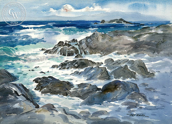 Seals at Play, California art by Art Riley. HD giclee art prints for sale at CaliforniaWatercolor.com - original California paintings, & premium giclee prints for sale