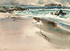 Storm Debris, Carmel, a California watercolor painting by Art Riley. HD giclee art prints for sale at CaliforniaWatercolor.com - original California paintings, & premium giclee prints for sale
