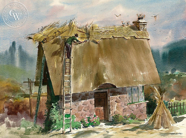 Thatching the House, California art by Art Riley. HD giclee art prints for sale at CaliforniaWatercolor.com - original California paintings, & premium giclee prints for sale