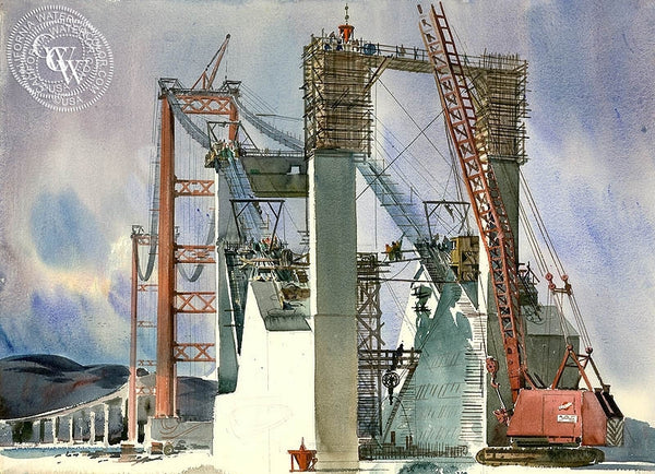 The Crane (Vincent Thomas Bridge), California art by Art Riley. HD giclee art prints for sale at CaliforniaWatercolor.com - original California paintings, & premium giclee prints for sale