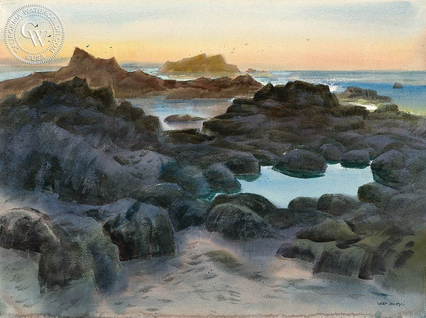 Tide Pools, California art by Art Riley. HD giclee art prints for sale at CaliforniaWatercolor.com - original California paintings, & premium giclee prints for sale