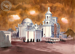 Tucson Mission, California art by Art Riley. HD giclee art prints for sale at CaliforniaWatercolor.com - original California paintings, & premium giclee prints for sale
