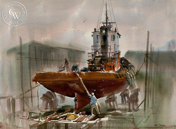 Tugboat, California art by Art Riley. HD giclee art prints for sale at CaliforniaWatercolor.com - original California paintings, & premium giclee prints for sale