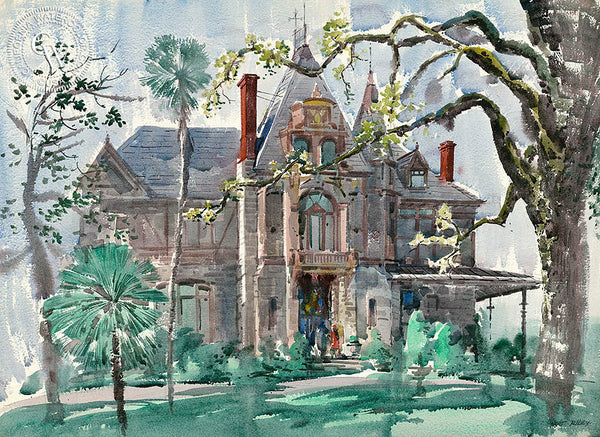 Victorian House, California art by Art Riley. HD giclee art prints for sale at CaliforniaWatercolor.com - original California paintings, & premium giclee prints for sale