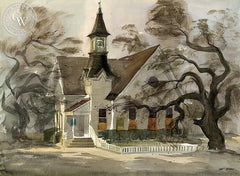 White Church, California art by Art Riley. HD giclee art prints for sale at CaliforniaWatercolor.com - original California paintings, & premium giclee prints for sale