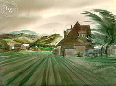 Windblown Farm, California art by Art Riley. HD giclee art prints for sale at CaliforniaWatercolor.com - original California paintings, & premium giclee prints for sale