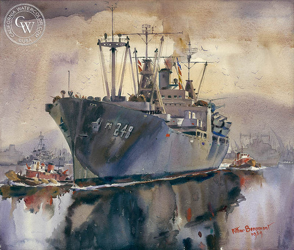 The Shakedown Cruise, U.S.S. Paul Revere, 1959, California art by Arthur Beaumont. HD giclee art prints for sale at CaliforniaWatercolor.com - original California paintings, & premium giclee prints for sale