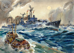 Fleet Maneuvers, U.S.S. John Paul Jones, 1960, California art by Arthur Beaumont. HD giclee art prints for sale at CaliforniaWatercolor.com - original California paintings, & premium giclee prints for sale