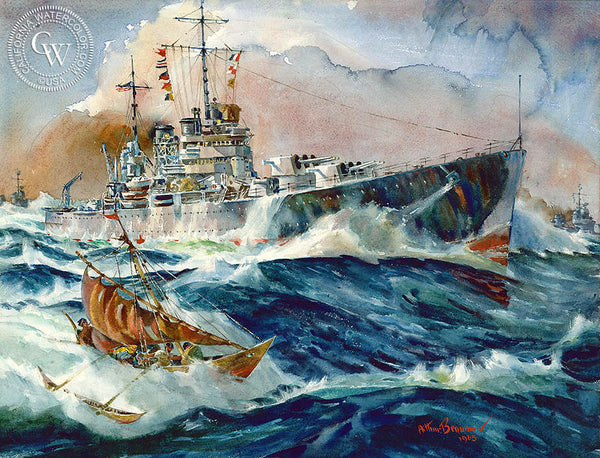 Battleship and Natives, 1965, California art by Arthur Beaumont. HD giclee art prints for sale at CaliforniaWatercolor.com - original California paintings, & premium giclee prints for sale