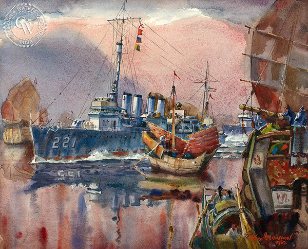 Cutting the Dragons Tail - U.S.S. Simpson, Hong Kong, 1962, California art by Arthur Beaumont. HD giclee art prints for sale at CaliforniaWatercolor.com - original California paintings, & premium giclee prints for sale