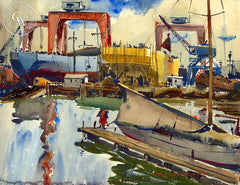 Harbor Scene, California art by Arthur Beaumont. HD giclee art prints for sale at CaliforniaWatercolor.com - original California paintings, & premium giclee prints for sale