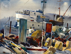 Loading Stores, San Pedro, CA, 1959, California art by Arthur Beaumont. HD giclee art prints for sale at CaliforniaWatercolor.com - original California paintings, & premium giclee prints for sale