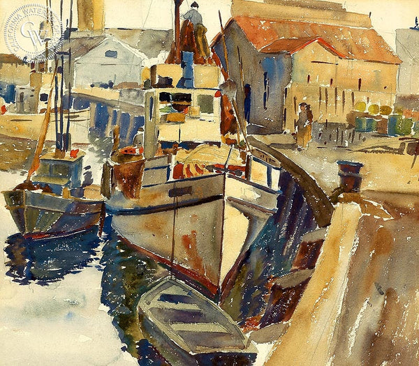 Monterey, c. 1930's, California art by Arthur Beaumont. HD giclee art prints for sale at CaliforniaWatercolor.com - original California paintings, & premium giclee prints for sale