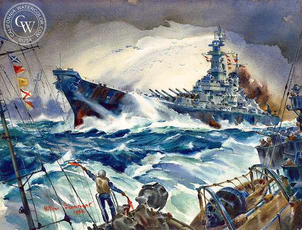 Pacific Task Force, U.S.S. Iowa, 1959, California art by Arthur Beaumont. HD giclee art prints for sale at CaliforniaWatercolor.com - original California paintings, & premium giclee prints for sale
