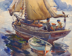 Sailing, California art by Arthur Beaumont. HD giclee art prints for sale at CaliforniaWatercolor.com - original California paintings, & premium giclee prints for sale