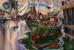 Shipshape, c. 1940's, California art by Arthur Beaumont. HD giclee art prints for sale at CaliforniaWatercolor.com - original California paintings, & premium giclee prints for sale