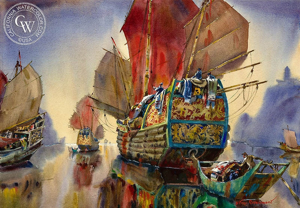 The Golden Junk - The Yangtse, China, 1962, California art by Arthur Beaumont. HD giclee art prints for sale at CaliforniaWatercolor.com - original California paintings, & premium giclee prints for sale
