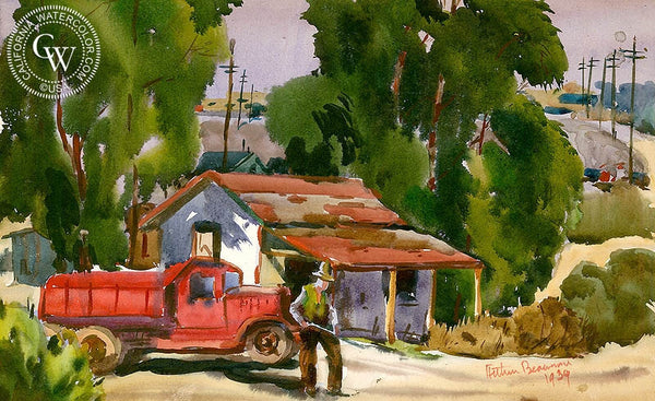 The Red Truck, 1939, California art by Arthur Beaumont. HD giclee art prints for sale at CaliforniaWatercolor.com - original California paintings, & premium giclee prints for sale