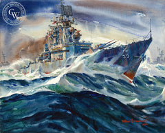 Thirty Three Knots-Plus, U.S.S. Fox, 1966, California watercolor art by Arthur Beaumont. HD giclee art prints for sale at CaliforniaWatercolor.com - original California paintings, & premium giclee prints for sale