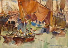 Venetian harbor, 1935, California art by Arthur Beaumont. HD giclee art prints for sale at CaliforniaWatercolor.com - original California paintings, & premium giclee prints for sale
