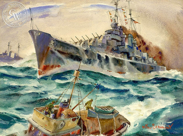 War at Sea, California art by Arthur Beaumont. HD giclee art prints for sale at CaliforniaWatercolor.com - original California paintings, & premium giclee prints for sale