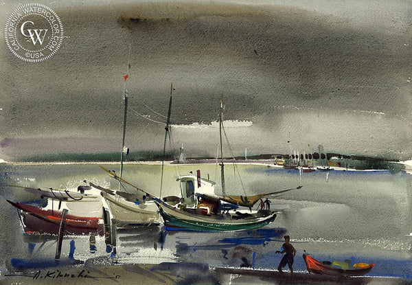 Harbor Scene, 1951, California art by Atsushi Kikuchi. HD giclee art prints for sale at CaliforniaWatercolor.com - original California paintings, & premium giclee prints for sale