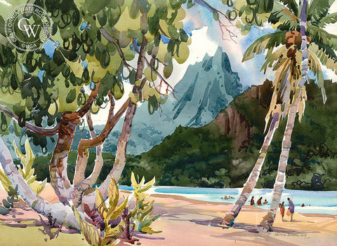 Moorea c. 1961, California watercolor art by Barbara Luebke Hill. HD giclee art prints for sale at CaliforniaWatercolor.com - original California paintings, & premium giclee prints for sale