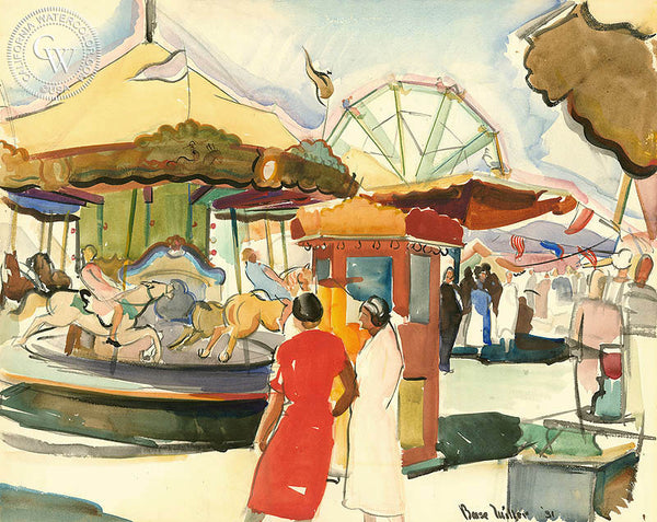 Merry Go Round, 1931, California watercolor art by Barse Miller. Military Art by California artists. HD giclee art prints for sale at CaliforniaWatercolor.com - original California paintings, & premium giclee prints for sale