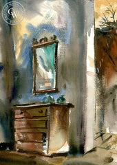 Chest with Mirror, California art by Barse Miller. HD giclee art prints for sale at CaliforniaWatercolor.com - original California paintings, & premium giclee prints for sale