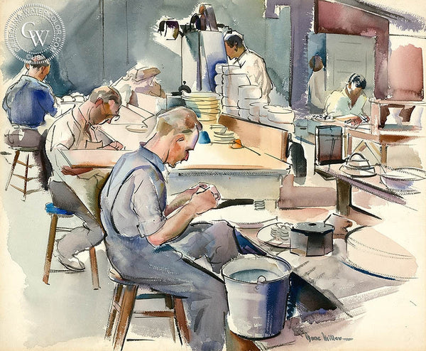 Gladding McBean Pottery Factory, 1935, California art by Barse Miller. HD giclee art prints for sale at CaliforniaWatercolor.com - original California paintings, & premium giclee prints for sale