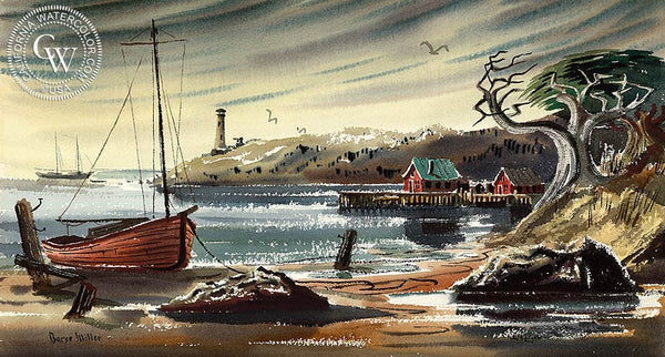Lighthouse, California art by Barse Miller. HD giclee art prints for sale at CaliforniaWatercolor.com - original California paintings, & premium giclee prints for sale