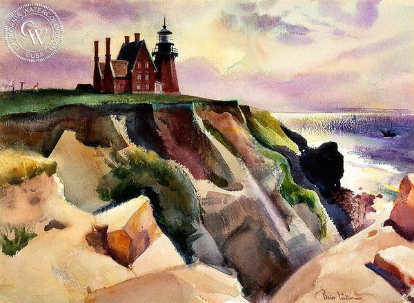 Lighthouse Pacific Coast, California art by Barse Miller. HD giclee art prints for sale at CaliforniaWatercolor.com - original California paintings, & premium giclee prints for sale