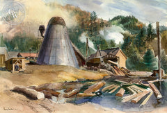 Northern California Mill, 1946, California art by Barse Miller. HD giclee art prints for sale at CaliforniaWatercolor.com - original California paintings, & premium giclee prints for sale