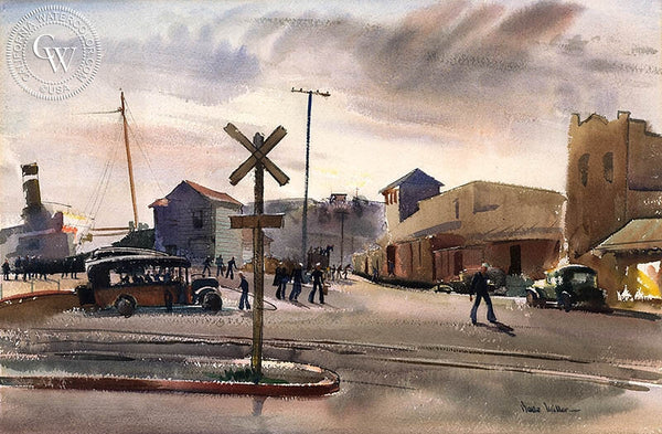 Sailor Come Home, 1944, California art by Barse Miller. HD giclee art prints for sale at CaliforniaWatercolor.com - original California paintings, & premium giclee prints for sale