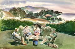 Santa Barbara Knitters, California art by Barse Miller. HD giclee art prints for sale at CaliforniaWatercolor.com - original California paintings, & premium giclee prints for sale
