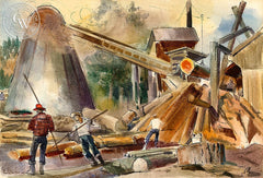 Saw Mill Operation, c. 1930's, California art by Barse Miller. HD giclee art prints for sale at CaliforniaWatercolor.com - original California paintings, & premium giclee prints for sale