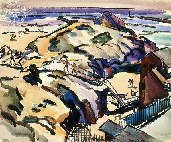 Summer in Corona del Mar, c. 1950's, California art by Barse Miller. HD giclee art prints for sale at CaliforniaWatercolor.com - original California paintings, & premium giclee prints for sale