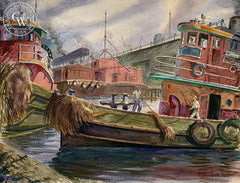 Tug Sailors, c. 1940, California art by Barse Miller. HD giclee art prints for sale at CaliforniaWatercolor.com - original California paintings, & premium giclee prints for sale