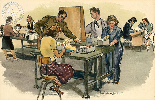 V-Mail Operations, Cutting Prints, 1942, California watercolor art by Barse Miller. Military Art by California artists. HD giclee art prints for sale at CaliforniaWatercolor.com - original California paintings, & premium giclee prints for sale