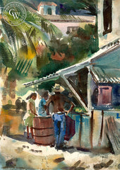 Working at the Shop, California art by Barse Miller. HD giclee art prints for sale at CaliforniaWatercolor.com - original California paintings, & premium giclee prints for sale