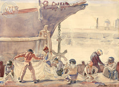 Mending Nets, California art by Ben Messick. HD giclee art prints for sale at CaliforniaWatercolor.com - original California paintings, & premium giclee prints for sale