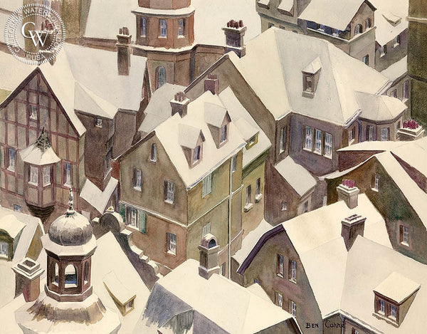 Rooftops, California art by Ben Carr. HD giclee art prints for sale at CaliforniaWatercolor.com - original California paintings, & premium giclee prints for sale